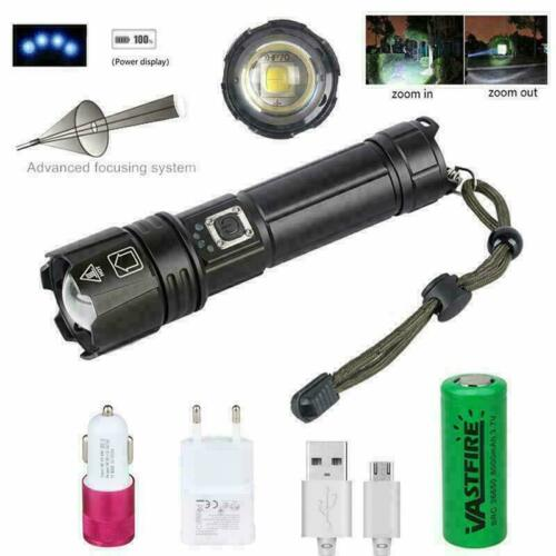 200000LM XHP70 XHP90 LED Flashlight Super Powerful Torch USB Zoom Light 26650