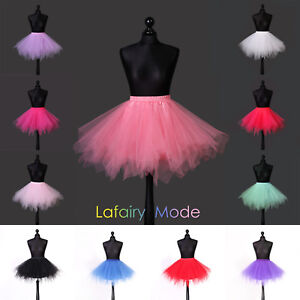 Gerade Tütü Petticoat Tüllrock Reifrock Ballettrock Karneval Asymmetrisch Damen Kinder