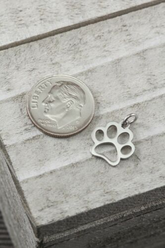 PAW PRINT Dog Cat Stainless Steel Rose Gold Tone Charm 13x12x1mm