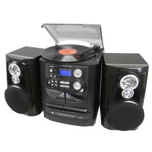 Hi-fi Turntable Vinyl LP/3 CD Player/Dual Cassette Recorder Record/AM/FM Radio