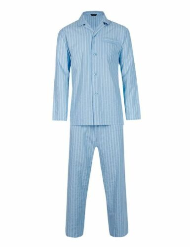 Blue New Seersucker Striped Xxl 47 Cotone Cotton Nuovo Blu Puro 49 Busto Seersucker 49 s s M Pigiama Pyjamas 47 a Sz Sz Xxl Chest righe M Pure nfTxxvw1X6