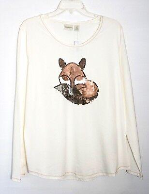 2 Ivory NWT $70 Chico's Zenergy Long Sleeve Sequin Fox Tee Top Ecru L 12//14