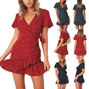 Women-Summer-Polka-Dot-Mini-Dress-Ladies-V-neck-Ruffles-Short-Wrap-Tea-Dresses