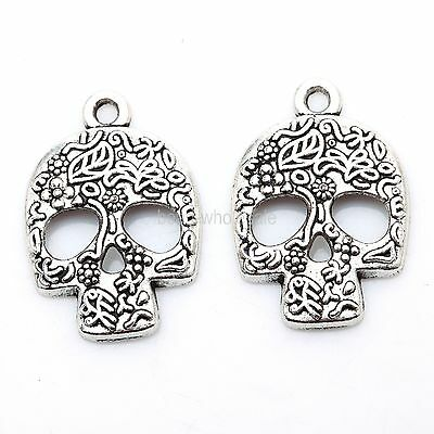 20Pcs Fashion Skull Charms Tibetan Silver Pendants Jewelry Craft 24mm