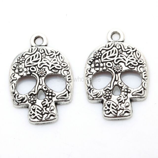 Tibetan Silver 20Pcs Skull Charms Pendants 24mm