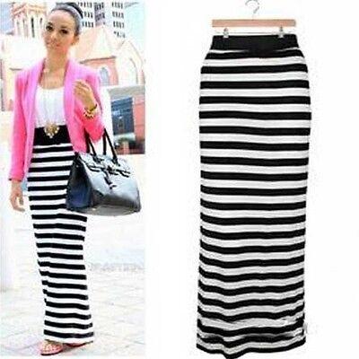 Women Black/white striped long maxi dress Stretch Rayon Party Pencil long skirt