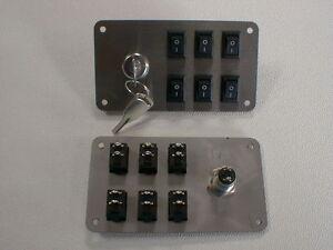Schalterpanel 6x Ein-Aus Schalter + Schlüsselschalter Edelstahlblende matt NEU