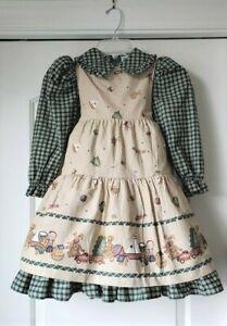 Vintage-DAISY-KINGDOM-Factory-Pinafore-Dress-Plaid-Trees-Bears-4T-4