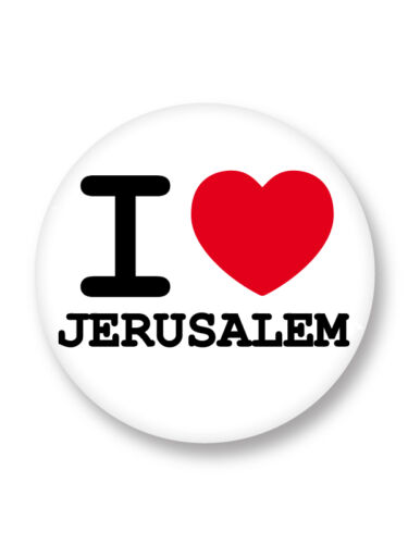 Porte clé Keychain Ø45mm I Love Heart Jerusalem Ville Town Israel