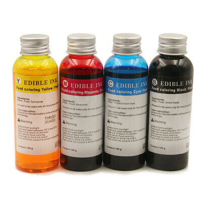 4 Bottle 100ML Edible Ink for Canon HP and All Brand Coffee Art Latte  Printer | eBay