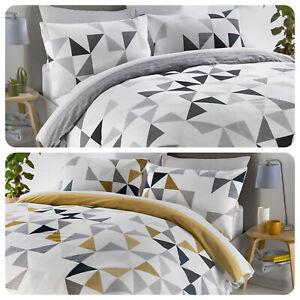 Fusion-HENDRA-Geometric-Stripe-Duvet-Cover-Bedding-Set-Ochre-Grey-Reversible