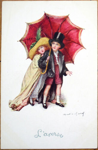 1916 Martin KavelArtistSigned Glamour Postcard Children Dressed as Adults