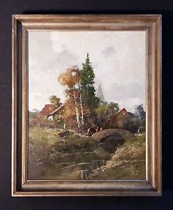 Eindrucksvolles-impressionistisches-Landschaftsgemaelde-altes-Olgemaelde-signiert