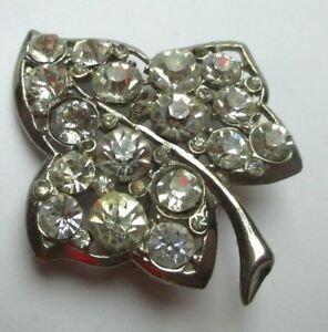 Bijou Vintage Broche Belle Brillance Feuille Couleur Argent Cristaux Diamant 40 100% D'Origine