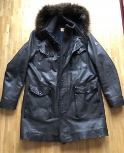 hugo boss herren parka lang winterjacke gef ttert lamm leder jacke biker ebay. Black Bedroom Furniture Sets. Home Design Ideas