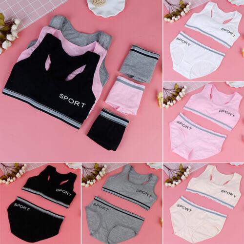 1set young girl training bras puberty children sport underwear student kids vLD