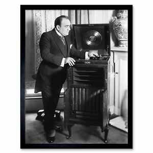 Bain-Opera-Singer-Enrico-Caruso-Phonograph-Photo-Wall-Art-Print-Framed-12x16