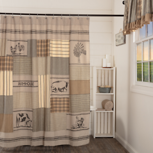 SAWYER-MILL-CHARCOAL-STENCILED-PATCHWORK-Shower-Curtain-Farmhouse-Animal-VHC