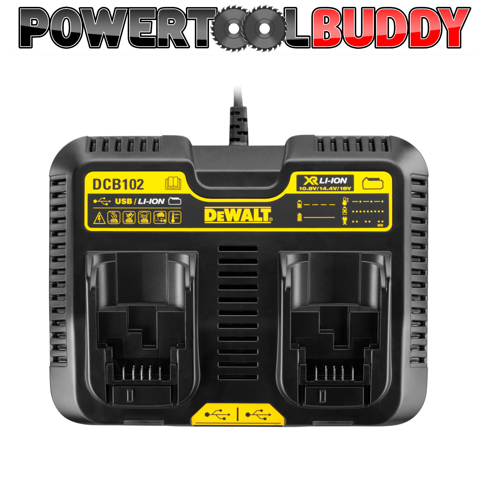 Dewalt DCB102 XR 10.8 -18volt Dual Port Charger With USB Next Day Delivery