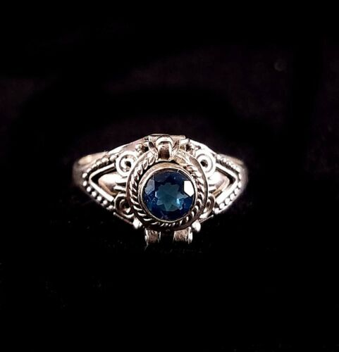 Handmade Solid 925 Sterling Silver Bali Faceted Blue Topaz Poison Pill Box Ring