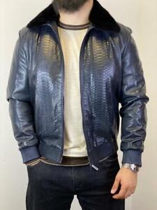 Authentic-100-STEFANO-RICCI-Leather-Coat-Italy-Blue-Men-Outerwear-Original-NEW