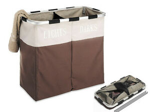 New 2 Section Folding Collapsible Laundry Dark Light