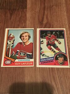 Lot-Of-2-Montreal-Opc-Vintage-Chris-Chelios-Rc-1984-85-And-Guy-Lafleur-1974-75
