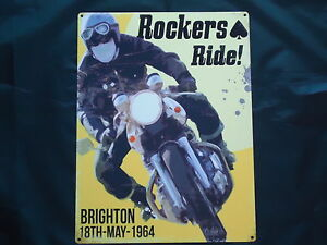 Rockers Ride Brighton 1964 Run Picture Plaque Metal Sign Motor Bike Scooter Mods