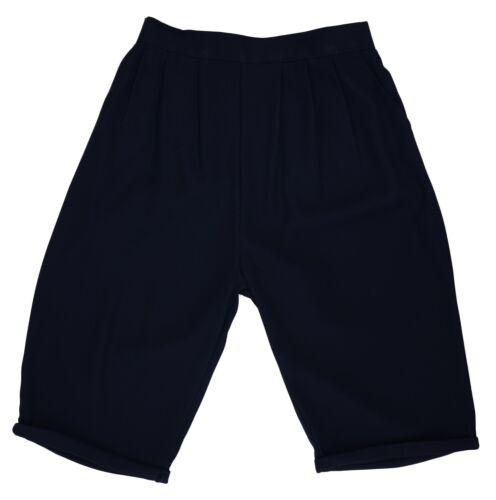 Da Donna Taglia 14-28 Smart Navy Crepe 2 Tasche Pantaloncini High Rise Elastico in Vita