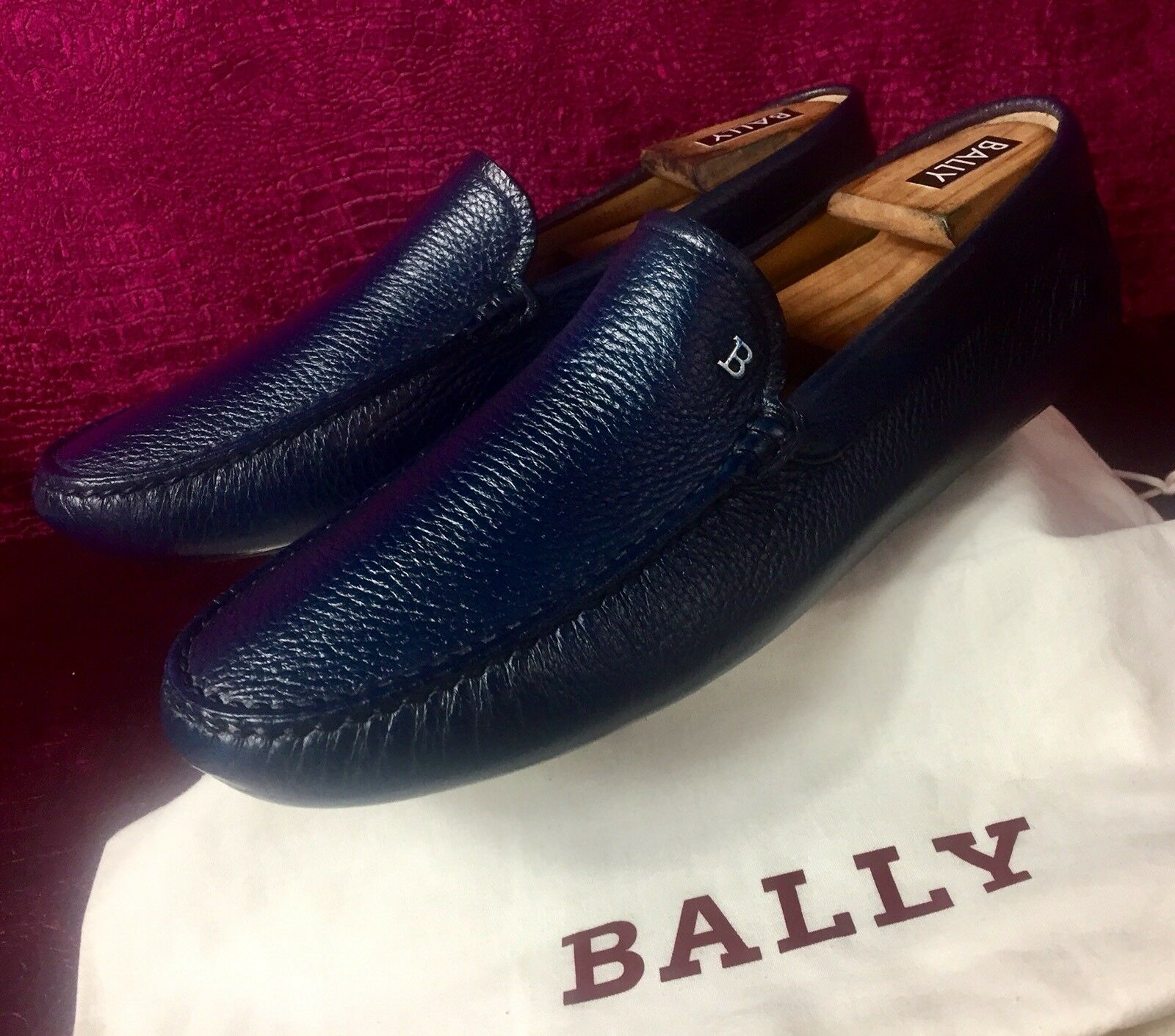 Uomo Blue Bally Pelle Drivers Shoes Sz 10.5 UK / 11.5   / 44,5 EU w/ Dust Bag