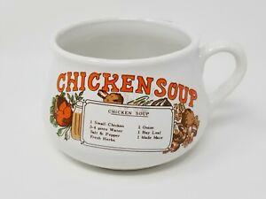 Chicken-Soup-Mug-Bowl-With-Recipe-Large-Microwave-Safe-Ceramic-Vintage-VTG