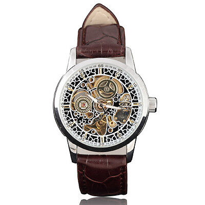 Classic Orient Arts Skeleton Dial Leather Band Auto Mechanical Men Wrist Watch s