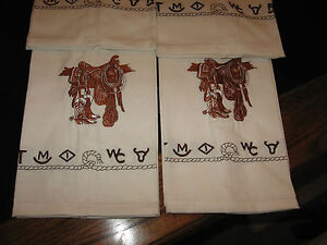 Western Kitchen Towels Saddle Boots Embroidered Branded Design 14x24 100 Cotton Ebay