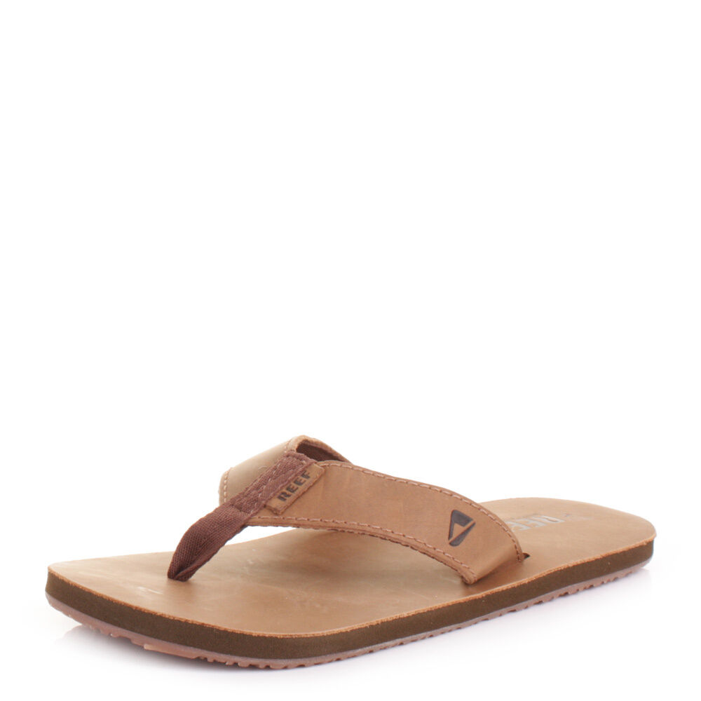 Mens Reef Leather Flops Smoothy Bronze Brown Flip Flops Leather Sandals Size 6-12 049483