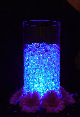 Glowing Party Table Decorations - LED Light with Aqua Crystals