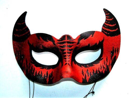 VENETIAN MASQUERADE HALLOWEEN BLACK /& RED EYE LUCIFER DEMON PARTY EYE MASK