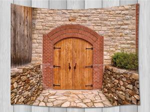 Wooden Door Of Rustic Wine Cellar Tapestry Bedroom Living Room Dorm Wall Hanging   EBay