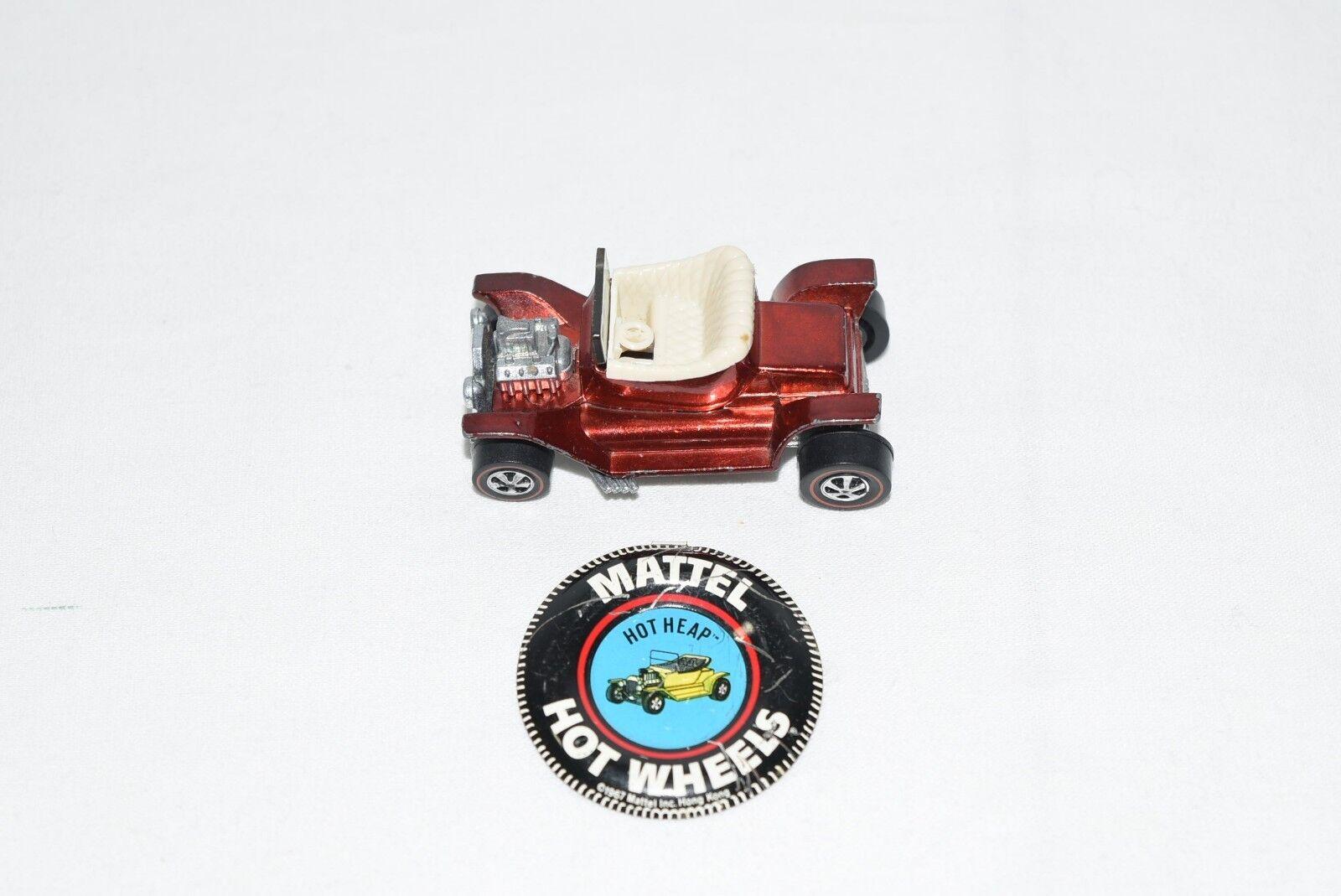 Original 1968 Hot Wheels Redline Hot Heap in Red 100% Genuine  with Button