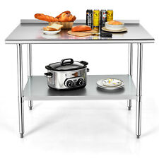 Costway 48 X 30 Stainless Steel Table Heavy Duty Prep Table Withadjustable Shelf