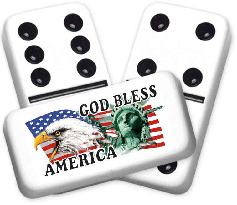 Americana Series God Bless Design Double six Professional Größe Dominoes