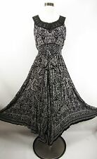 Bila NEW Black White Crinkle Gauze Handkerchief Hem Maxi Dress Boho Med M NWT