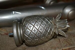 Laura-Ashley-curtain-pole-Antique-pewter-1-8m-2-x-Pineapple-finials-35mm