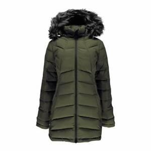 SPYDER-Women-039-s-Khaki-Syrround-Long-Faux-Fur-Hooded-Down-Parka-Coat-S-10-12-353