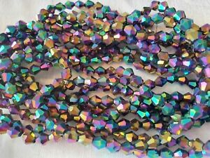 Joblot-of-10-strings-Rainbow-color-6mm-bicone-shape-Crystal-beads-new-wholesale