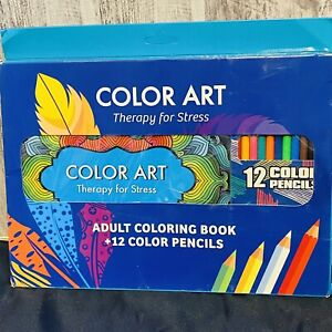Color Art- Therapy For Stress Adult Coloring Book Plus 12 Colored Pencils