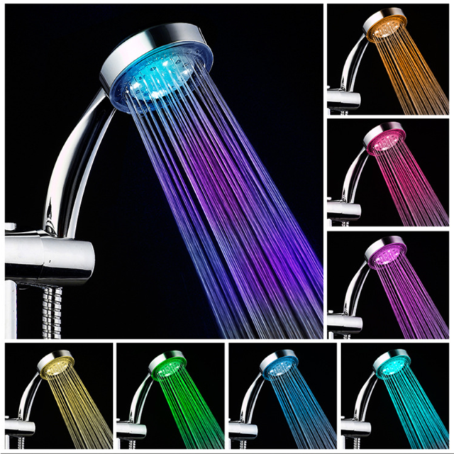 LED Shower Head 7 Colors Changing Water Glow Colorful Light Handheld Bathroom