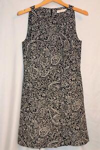 EUC-Tory-Burch-034-Paisley-Doodle-Sheath-Dress-034-Black-White-Size-6