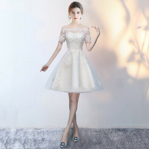 Noble Lace Beautiful Evening Formal Party Ball Gown Prom Bridesmaid Dress MLXL