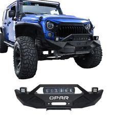 Opar black front bumper w 60w light bar fog lights for jeep opar textured front bumper w led light bar for 07 18 jeep wrangler jkunlimited aloadofball Gallery