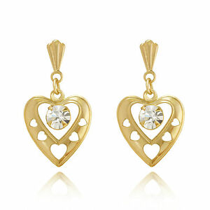 9ct yellow gold heart crystal Andralok drop earrings / Gift box rlhJU
